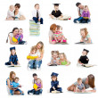 Foto de Stock  : Collection of babies or kids reading book. Concept of educatio