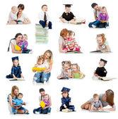 Bebeklerde veya kitap okurken çocuklar topluluğu. educatio kavramı — Stok fotoğraf