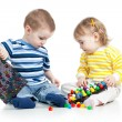 Stock Photo: Kids boy and girl play together, isolated on white background