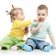 Happy children little girl and boy with ice cream in studio isol — Stock Photo #20240299