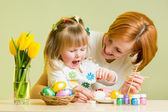 Mother and kid girl play and prepare to easter — Stock Photo