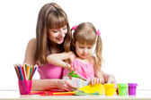 Mother teaches preschooler kid to do craft items. DIY concept. — Stock Photo
