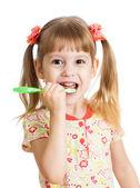 Милый парень девушка, зубы, изолированные на белом фоне — Стоковое фото