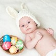 Adorable baby dressed in Easter bunny cap — Stock Photo #21399947