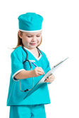 Adorable kid girl uniformed as doctor over white background — Stock Photo