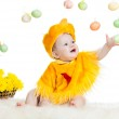 Baby boy dressed in Easter chicken costume — Stock Photo