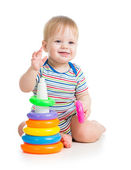 Happy baby boy playing with colorful toy isolated on white — 图库照片