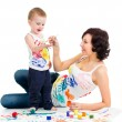 Mother wih kid boy drawing and painting together — 图库照片 #23595703