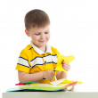 Kid boy cut paper — Stock Photo #23758551