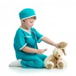 Boy kid playing doctor with toy — Stock Photo #23758585