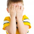 Kid crying or playing with hiding face isolated — Stock Photo #23758663