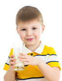 Kid boy drinking milk isolated on white — Foto Stock
