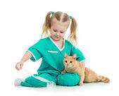 Cute kid playing doctor with cat isolated — Stock Photo