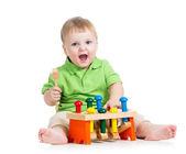 Enfant jeu jouet isolé sur fond blanc — Photo