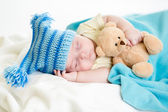 Sleeping baby boy with toy — Foto Stock
