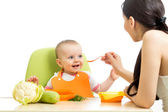 Mother feeding baby girl — Stock Photo