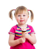 Little girl eating ice cream in studio isolated — Stock Photo