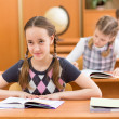 Schoolkids work at lesson — Foto Stock