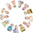 Stockfoto: Group of smiling kids babies children arranged in circle