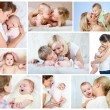 Stockfoto: Collage mother's day concept. Loving moms with babies.
