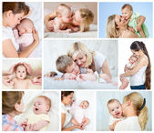 Collage mother's day concept. Loving moms with babies. — Stok fotoğraf