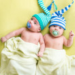 Twins brothers babies boys — Stock Photo