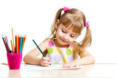 Child girl drawing with colourful pencils — Stok fotoğraf