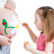 Cute kid girl painting mother's belly — Stock Photo #27209081