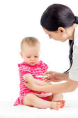Doctor vaccinating child isolated on a white — Stock Photo
