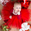 Top view of cristmas baby with girls — Stock Photo