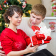 Young couple with gift in front of Christmas tree at home — Stock Photo #27889257