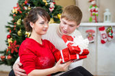 Young couple with gift in front of Christmas tree at home — Stok fotoğraf