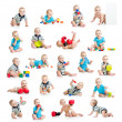 Collection of active baby or kid boy — Stock Photo