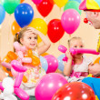 Kids group and clown on birthday party — Stock Photo