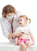 Doctor examining child isolated on white — Stock Photo