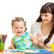 Stock Photo: Mom and kid girl having fun
