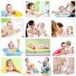 Collection of babies or kids at bath-time. Hygiene concept for l — Foto Stock