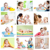 Collection of babies or kids at bath-time. Hygiene concept for l — Foto de Stock
