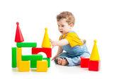 Baby boy playing building blocks — Stock Photo
