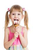 Kid eating tasty ice cream — Stock Photo