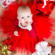 Top view of cristmas baby with gifts — Stock Photo #31404345