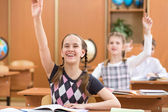 School kids with raised hands at lesson in classroom — Stock Photo
