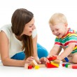 Kid boy playing toys together mother — Lizenzfreies Foto