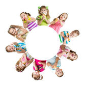 Group of kids or children eating ice cream in circle — Stock Photo