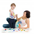Mother wih kid boy drawing and painting together — Stock Photo #33057889