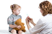 Doctor vaccinating kid — Stock Photo