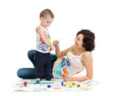Mother wih kid boy drawing and painting together — Stock Photo