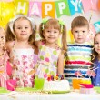 Kids celebrating birthday holiday — Stockfoto
