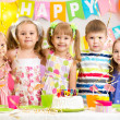 Kids celebrating birthday holiday — Stock Photo