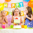 Stockfoto: Group of kids at birthday party